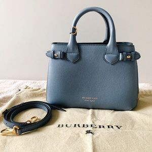 SOLD Burberry Small Banner Tote Slate Blue Grey